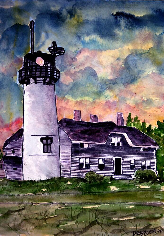 Chilmark Lighthouse Painting Marthas Vineyard Massachusetts by derekmccrea