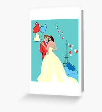 Romantic Design with Lovers in Paris Greeting Card