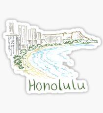 Honolulu Panorama Sticker