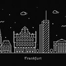 Frankfurt Skyline Minimal Line Art Poster by A Deniz Akerman