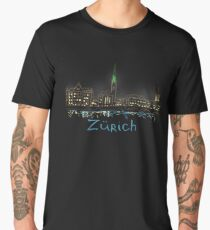 Zurich Panorama at night Men's Premium T-Shirt