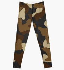 Brown army camo camouflage pattern Leggings
