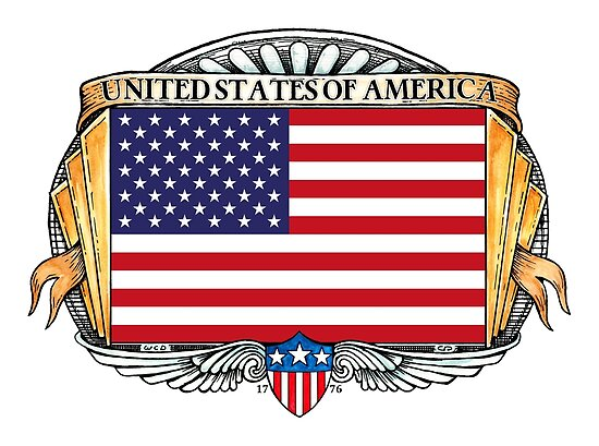 United States Of America Art Deco Design with Flag