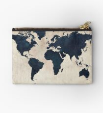 World Map Distressed Navy Studio Pouch