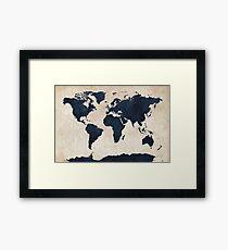 World Map Distressed Navy Framed Print