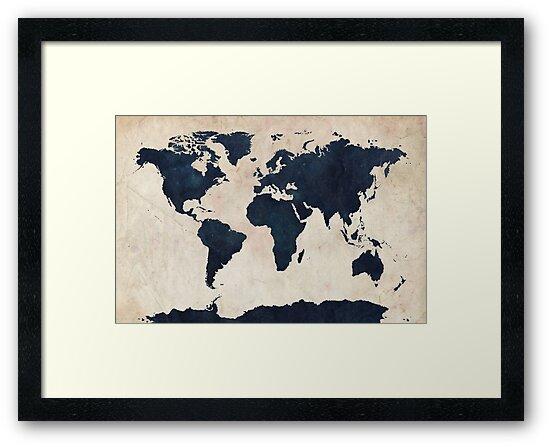 World Map Distressed Navy by Michael Tompsett