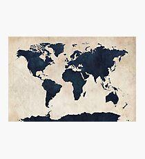 Weltkarte Distressed Navy Fotodruck