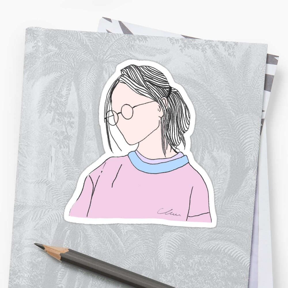 Aesthetic Girl Teenager With Glasses Colored Version Stickers By
