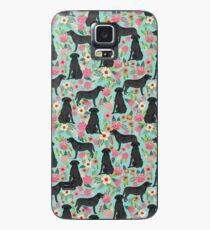 Funda/vinilo para Samsung Galaxy Labrador Retriever labrador floral negro perro raza floral debe tener regalos amantes de los perros