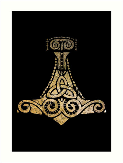 Thors Hammer Norse Mythology God Symbol Art Prints By Ice Tees