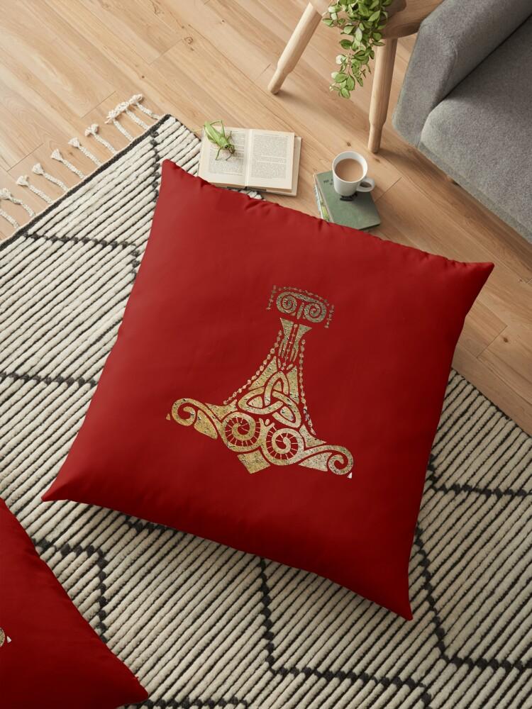 Thor S Hammer Norse Mythology God Symbol Floor Pillow By Ice Tees