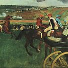 Edgar Degas French Impressionism Oil Painting At The Horse Races by jnniepce