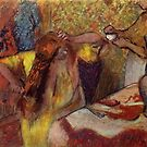 Edgar Degas French Impressionism Oil Painting Woman Brushing Hair by jnniepce