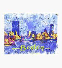 boston skyline watercolor illustration Photographic Print