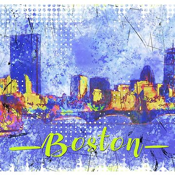 boston skyline watercolor illustration by tangerinnah