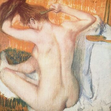 Original Edgar Degas French Impressionism Oil Painting Restored Woman Brushes Hair by jnniepce