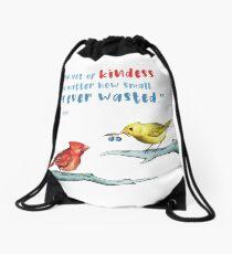 Act of Kindness - Cardinals, Inspirational Quotes, Animal Lovers Drawstring Bag