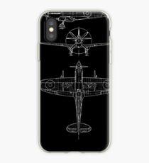 Spitfire aircraft blueprints iPhone Case