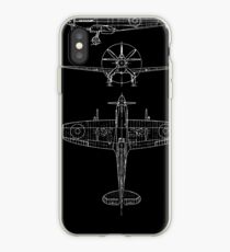 Spitfire aircraft blueprints iPhone Case