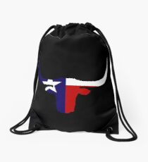 Texas flag longhorn Drawstring Bag