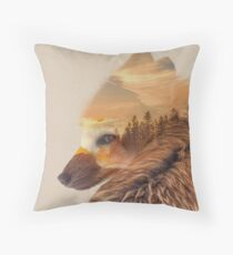 Red Fox with Dream Sunset Landscape Throw Pillow