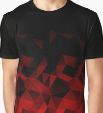 Abstraktes polygonales Muster. Rote, schwarze Dreiecke. Grafik T-Shirt