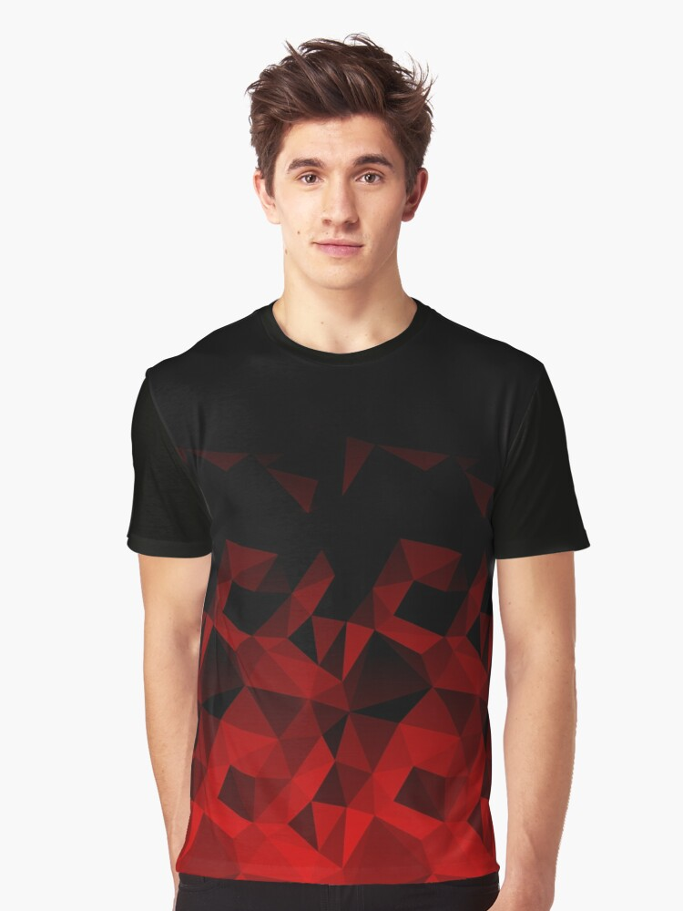 Abstract polygonal pattern .Red, black triangles. Graphic T-Shirt Front