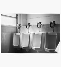 Four Urinals in a Row BW Poster