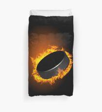 Burning Hockey Puck  Duvet Cover