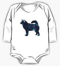 Body de manga larga para bebé Alaskan Malamute Black Watercolor Silhouette