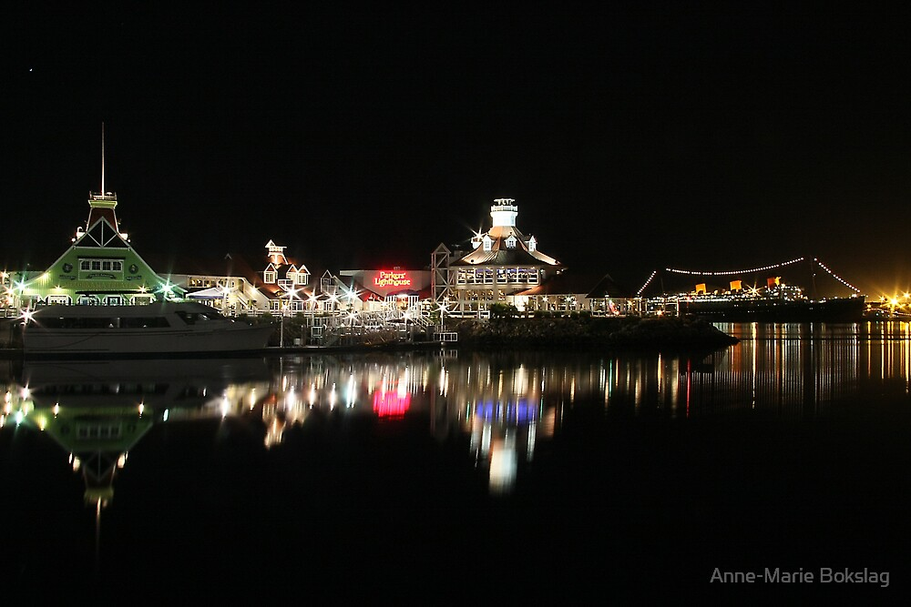 Night view on Long Beach by Anne-Marie Bokslag