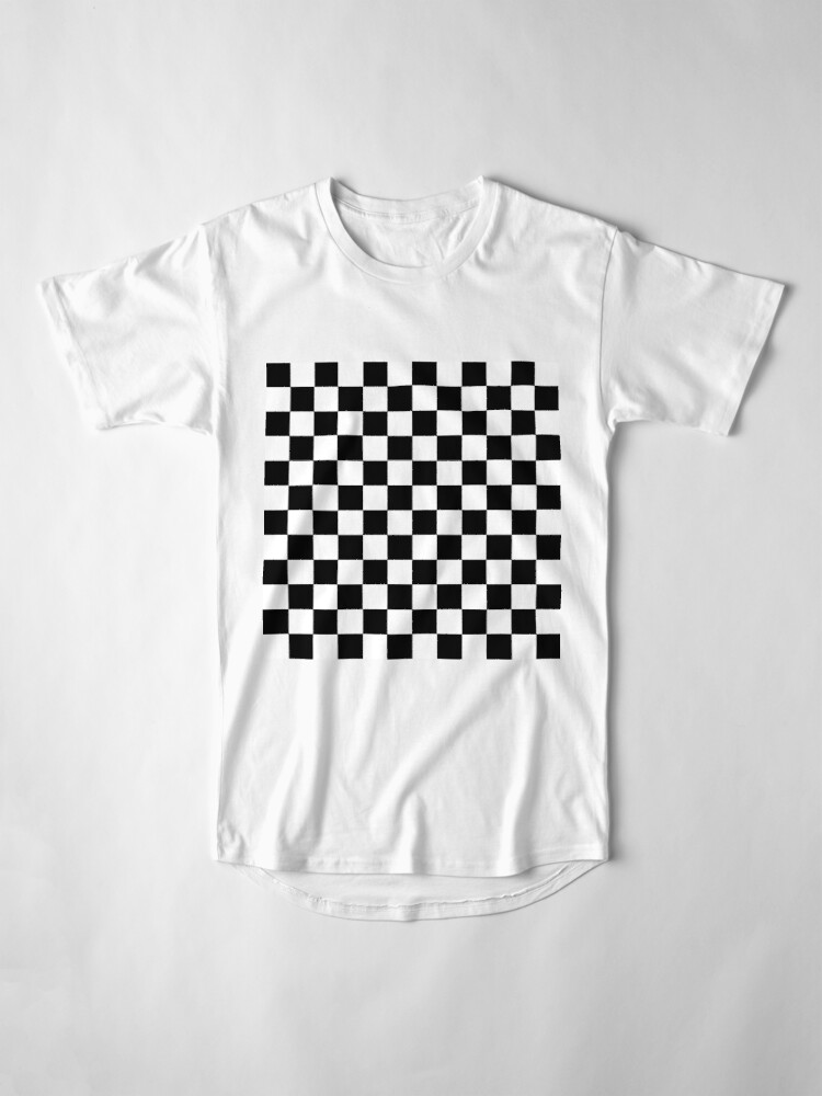Alternate view of Checkered Black and White Long T-Shirt