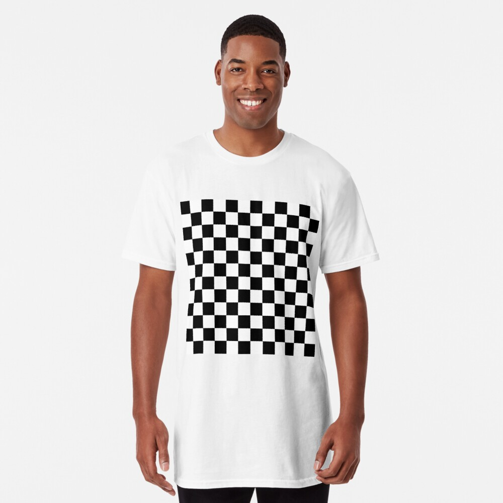 Checkered Black and White Long T-Shirt