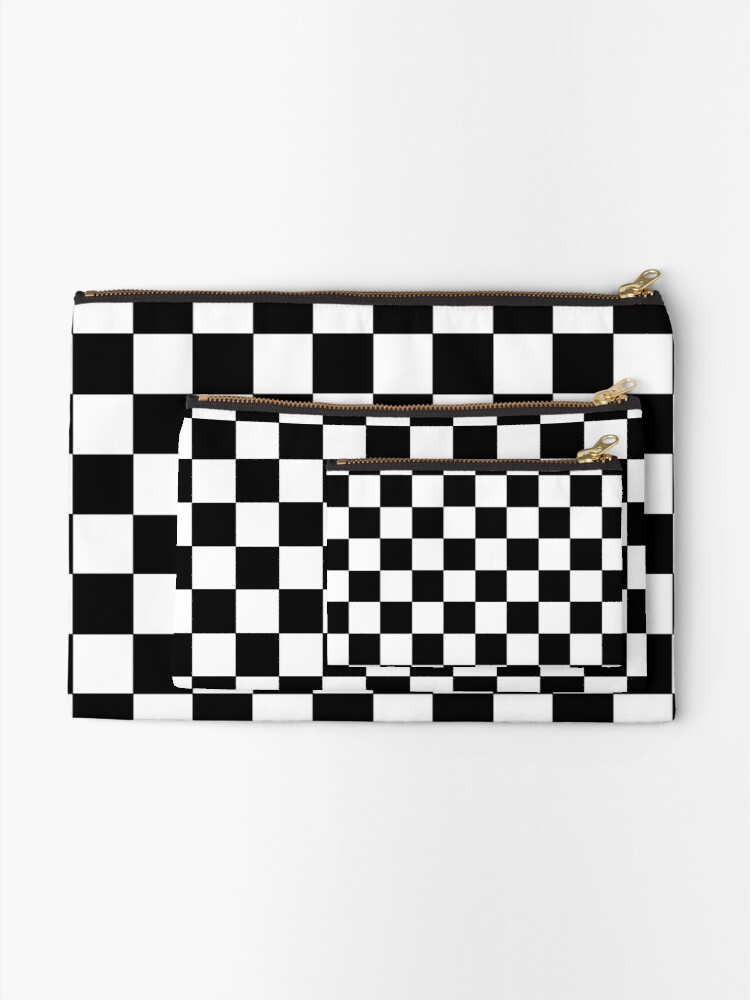 Alternate view of Checkered Black and White Zipper Pouch