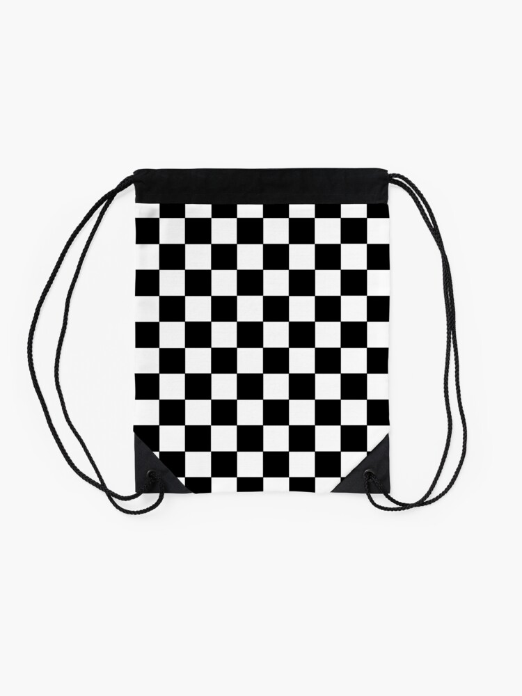 Alternate view of Checkered Black and White Drawstring Bag