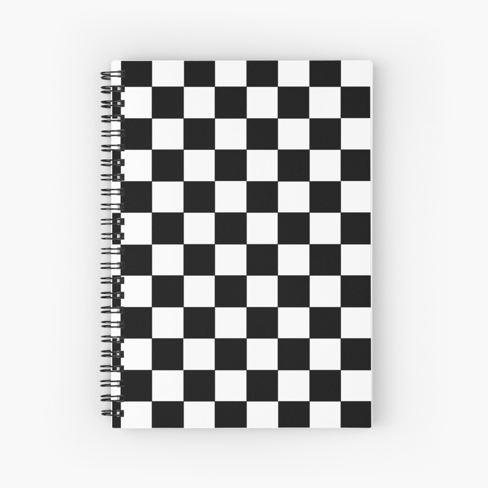 Checkered Black and White Spiral Notebook