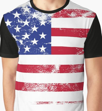 American Flag Used Graphic T-Shirt