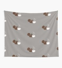Squirrel Loves Coffee Wall Tapestry