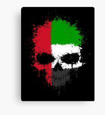 Chaotic UAE Flag Splatter Skull Canvas Print