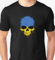 Chaotic Ukrainian Flag Splatter Skull T-Shirt