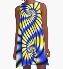 Double Spiral Yellow Blue A-Line Dress