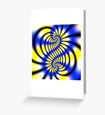 Double Spiral Yellow Blue Greeting Card