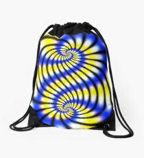 Double Spiral Yellow Blue Drawstring Bag