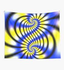 Double Spiral Yellow Blue Wall Tapestry