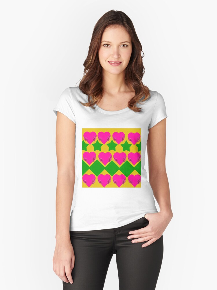 Love hearts, diamonds,and stars. Women's Fitted Scoop T-Shirt Front