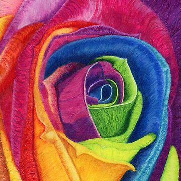 WIDE AWAKE (Rainbow Rose) by TheJoanofArt