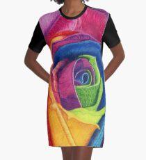 WIDE AWAKE (Rainbow Rose) Graphic T-Shirt Dress
