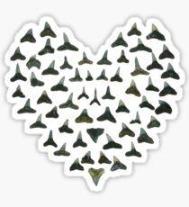 shark tooth heart Sticker