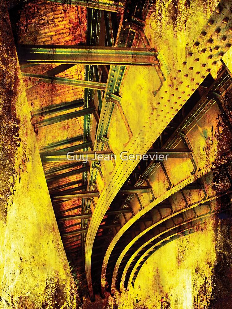 Red iron bridge by Guy Jean Genevier