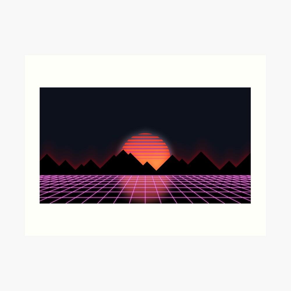 """80er Retro Grid & aufgehende Sonne - """"Event Horizon"""" Kunstdruck"""